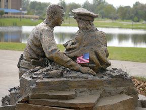 9-11 Sculpture With Flag