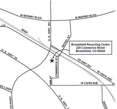 Map to Broomfield Recycling Center
