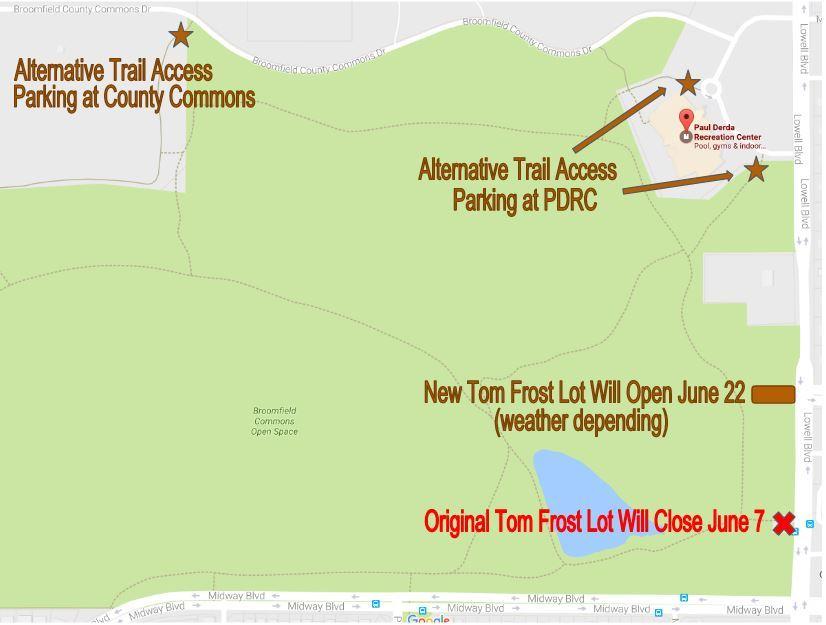 Tom Frost Parking Lot Closure June 2017